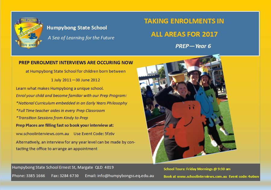 Enrol now at Humpybong State School for 2018